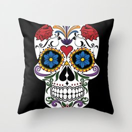 Colorful Sugar Skull Throw Pillow