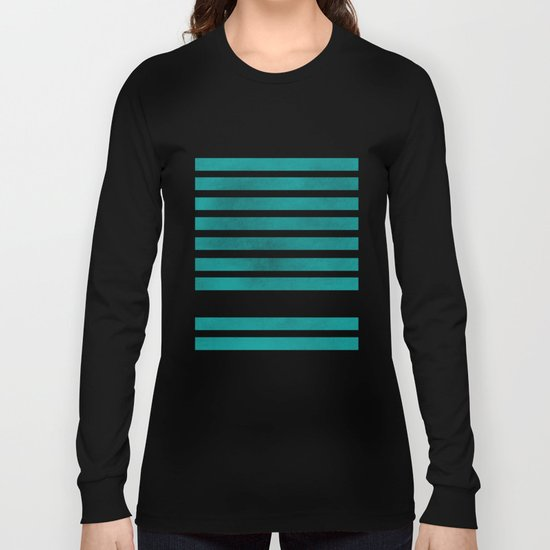 TEAL STRIPES AND ARROWS Long Sleeve T-shirt