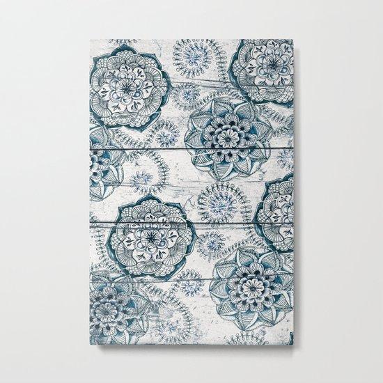 Navy Blue Floral Doodles on Wood Metal Print