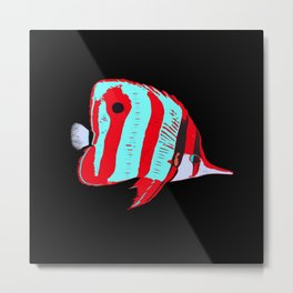 Red Banded Butterfly Fish Metal Print