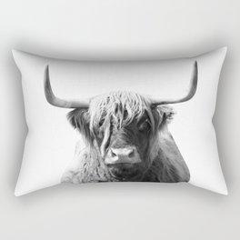 Highland cow | Black and White Photo Rectangular Pillow