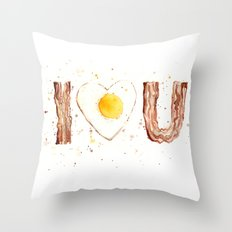 Bacon and Egg Love Valentines Day Heart Throw Pillow