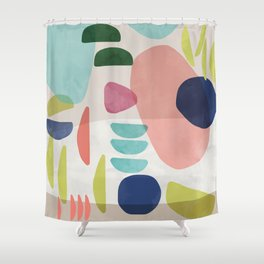 Watercolor Bold Shapes Shower Curtain