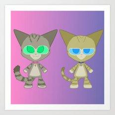Cat Twins (Clara and Clarence Cat) Art Print
