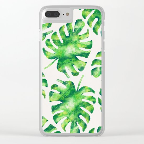 Monstera Leaves Clear iPhone Case