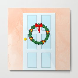 Traditional Christmas wreath on an old fashioned door Metal Print
