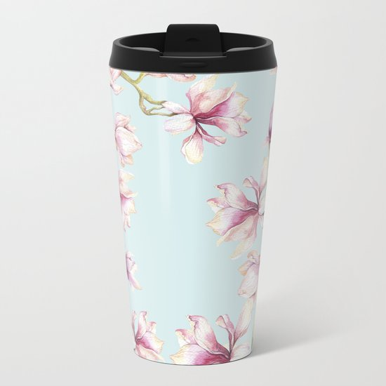 Delicate Magnolia Metal Travel Mug
