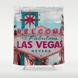 The Fabulous Las Vegas Sign, Retro Vintage Fine Art Photography Shower Curtain