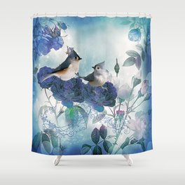 Cute birds with flowers Shower Curtain