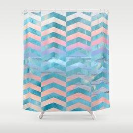 Seafoam Sunset -Wide Chevrons Shower Curtain