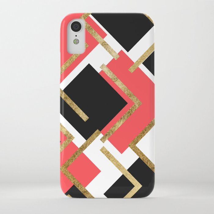 Chic Coral Pink Black and Gold Square Geometric iPhone Case