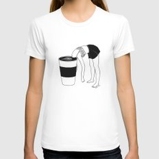 Coffee, First Womens Fitted Tee White SMALL