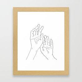 Hands minimal line drawing Framed Art Print