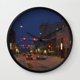 Downtown Fairbanks in Winter Wall Clock