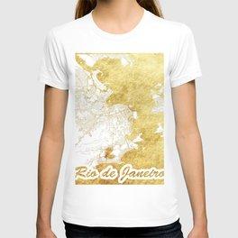 Rio de Janerio Map Gold T-shirt