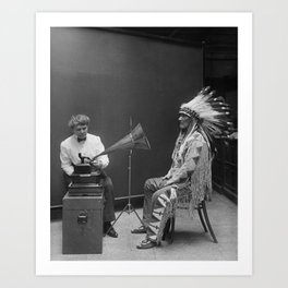 Frances Densmore recording Mountain Chief Art Print
