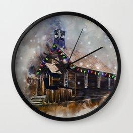 Church At Christm Wall Clock