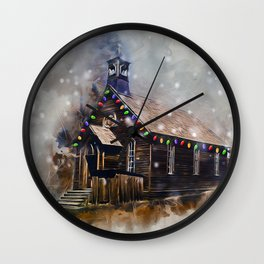 Church At Christm Wall Clock