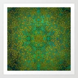 mandala green yellow magic #mandala Art Print