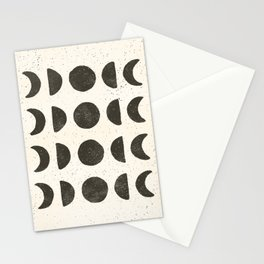 Moon Phases - Black on Cream Stationery Cards