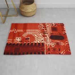 Red Motherboard Geek Decor Rug
