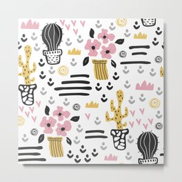 Cute flowers and cactus Metal Print