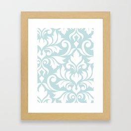 Flourish Damask Art I White on Duck Egg Blue Framed Art Print