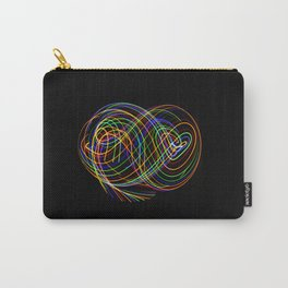 Long exposure photography made with light paint of various colors on a black background, waves, curv Carry-All Pouch