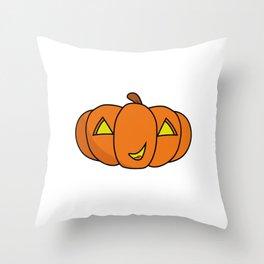Cute Smiling Halloween Pumpkin Throw Pillow