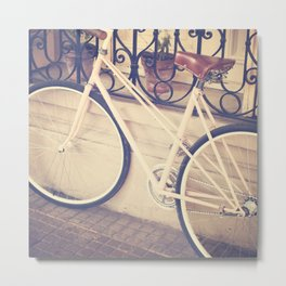 Pierina's Pink Bicycle  - Retro and Vintage Photography Metal Print