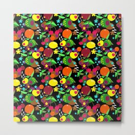 Fruit berry pattern on black . Metal Print