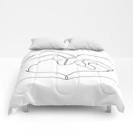 line art heart hands Comforters