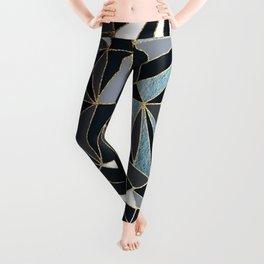 Stylish Art Deco Geometric Pattern - Black, blue, Gold #abstract #pattern Leggings