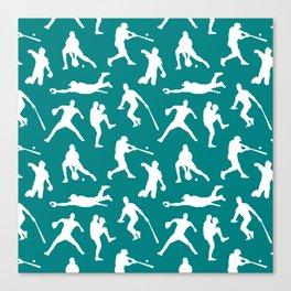 Baseball Players // Teal Canvas Print