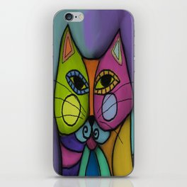 Calico Cat Colorful Abstract Digital Painting  iPhone Skin