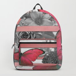 Butterflies Pink Stripes & Grayscale Flowers Backpack