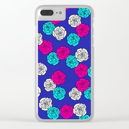 Pop Roses Pattern Clear iPhone Case