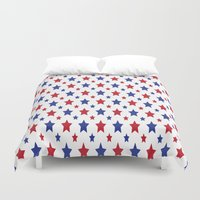 patriotic Duvet Covers featuring Patriotic Stars by Jennifer Agu