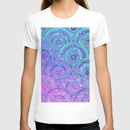 Aqua Blue Purple and Pink Sparkling Glitter Circles T-shirt