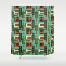 Retro Geodesic Shower Curtain