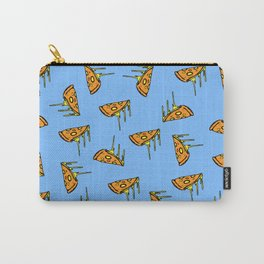 Pepperoni Pizza Dripping Cheese by the Slice Pattern (light blue) Carry-All Pouch