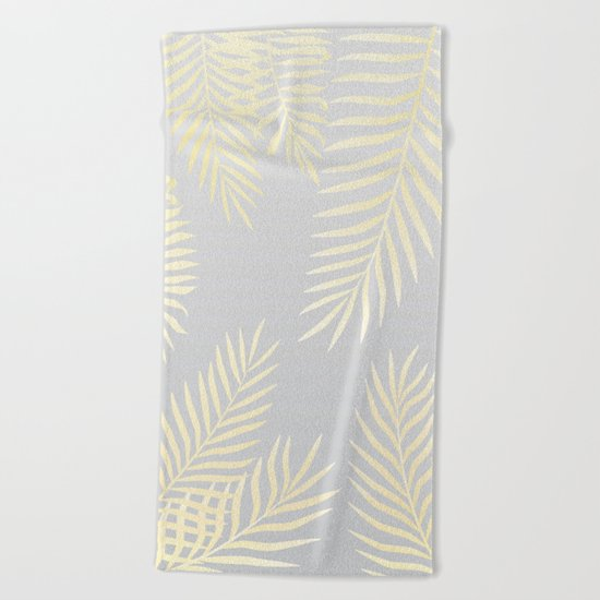 Gold palm leaves on grey Beach Towel