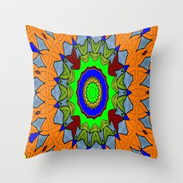 Lovely Healing Mandala  in Brilliant Colors: Orange, Royal Blue, Gray, Olive, Green, and Maroon Throw Pillow