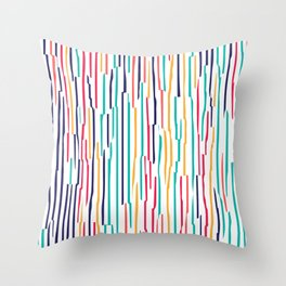 Colorful scribble lines abstract pattern Throw Pillow