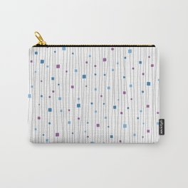 Squares and Vertical Stripes - Cold Colors on White - Hanging Carry-All Pouch