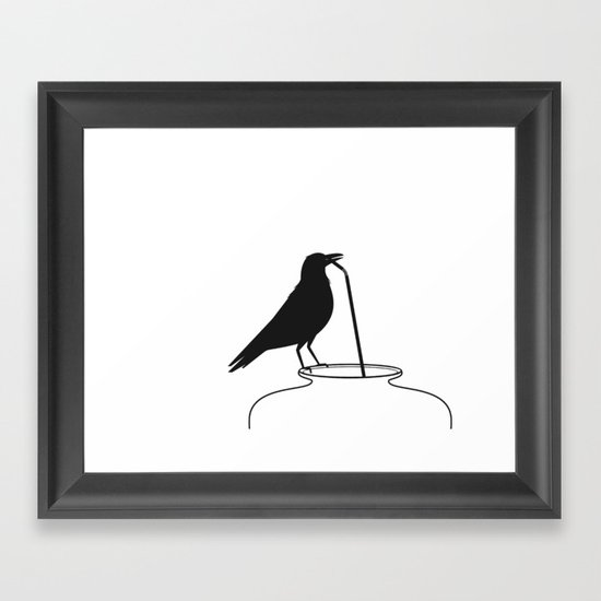 Thirsty crow Framed Art Print