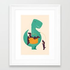 T-Rex and his Basketful of Wiener Dogs Framed Art Print