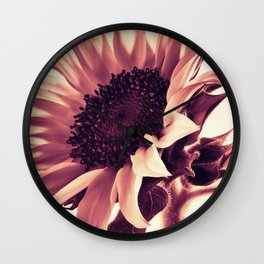 Rose Pink Sunflower Wall Clock