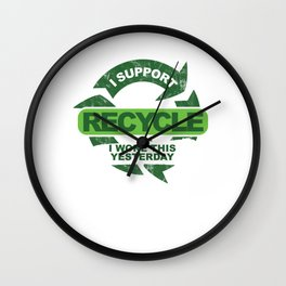 Recylce Support Recycling Wall Clock