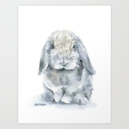 Mini Lop Gray Rabbit Watercolor Painting Kunstdrucke